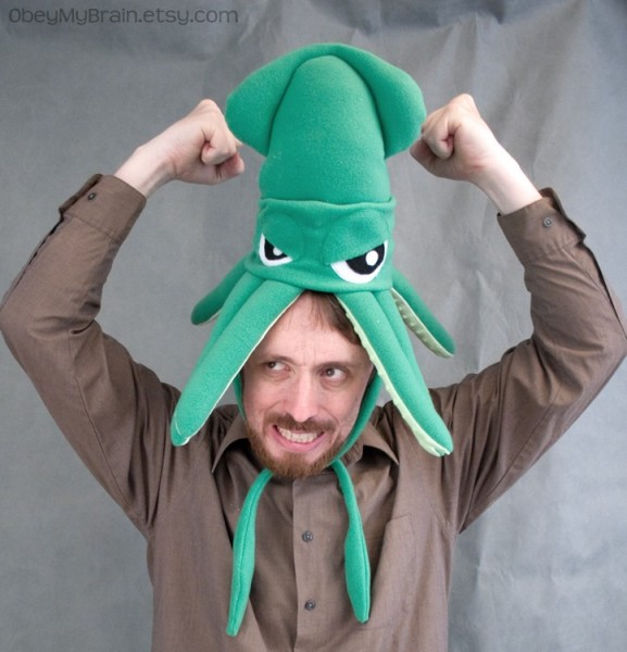 Obey my brain squid hat